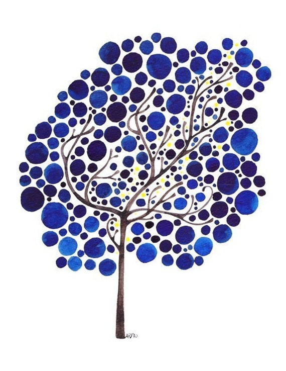 Tree Art Watercolor Sapphire Dreams Print Starlit Wall Art