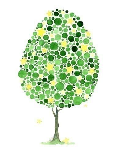 Watercolour Wishing Tree Whimsical Art Print
