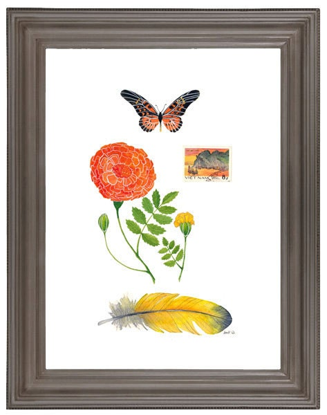 Watercolor Painting Marigold Collection Mixed Media Collage Floral Botany Large Art - on sale