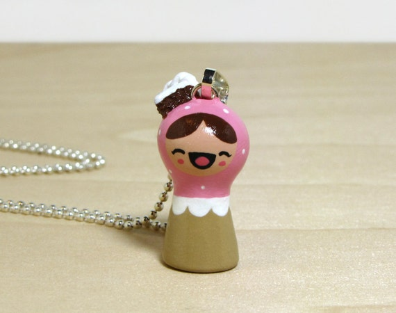 Pink Confetti Cake Plini Doll Necklace