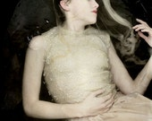 Ceasing To Struggle - FREE SHIPPING Surreal Photo Print Girl underwater portrait Dark art Haunting image Cream Veil Water Floating Ophelia