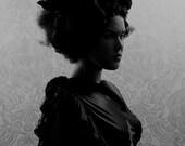 NoseDive 2 FREE SHIPPING Surreal photo print Dark portrait Black & white Fine art image Gray Silhouette Bird in girls hair Crow Raven