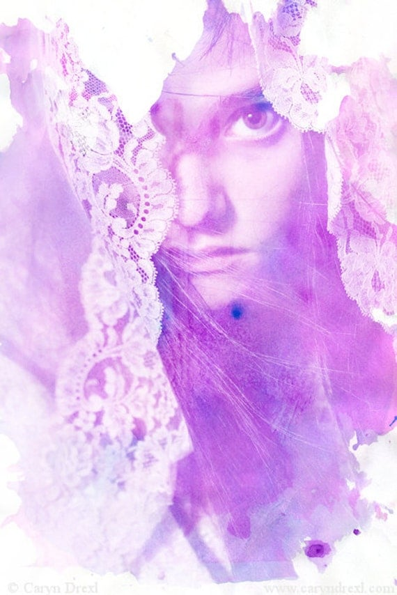 Water Color Stains - FREE SHIPPING - Girl Portrait Face Eye Pink Blue Purple White Lace Watercolor Ink Surreal Veil Print