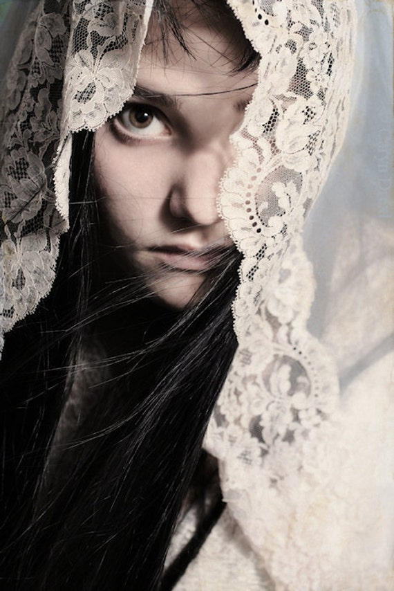 Thinly Veiled - FREE SHIPPING Fine Art Photo Print Girl Bride Vintage Lace Wind Cream Blue Eye Face Wind Surreal Image Portrait Soft Image