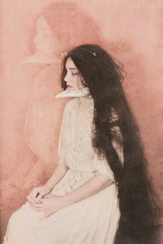 I Can Feel It In My Bones - FREE SHIPPING - Print Pink Peach Face Portrait Vintage Bone Jaw Surreal Long Hair Antique Death Dead Creepy