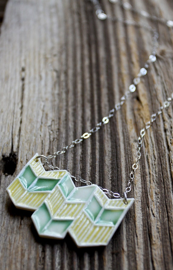 SALE - Yellow and Green Porcelain Chevron Necklace - Handmade Pottery