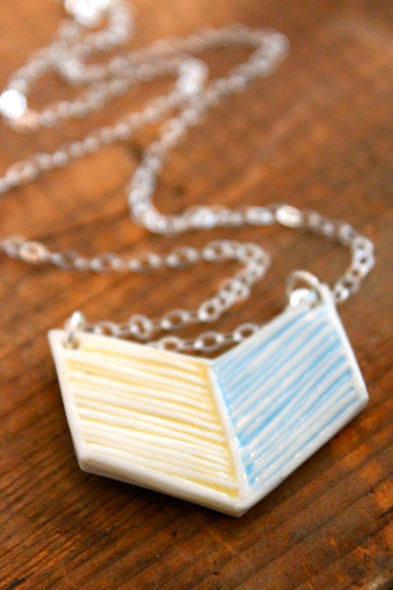 CLEARANCE - Yellow and Blue Porcelain Simple Chevron Necklace - Handmade Pottery