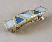 Blue and White Stained Glass Barrette - medium