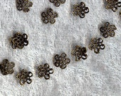 50 Antique bronze tone Flower Bead Caps - lead free