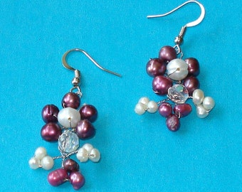 Vintage 1980s Purple and White Pearl and Crystal Earrings