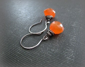 Carnelian Gemstone Artisan Sterling Silver Earrings-Bright Orange Drops