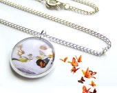 Butterflies Everywhere Silver Charm Necklace with Fairies .. Diffusion Line by The Mymble's Daughter