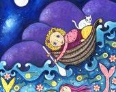 Girl and Mermaids - Girl Cat and Boat Art Print - Nursery Art - Childrens wall Decor - Whimsical Folk Art Print - ''Night Garden''