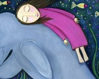Dugong Manatee Girl - Whimsical Folk Art - Dream Series Print - 'Dugong'