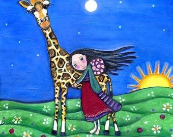 Giraffe and Girl - Childrens Art Print - Cute Whimsical Folk Art - Nursery Art - 'Journey Home'