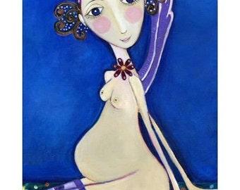 "Pregnant Fairy Art Print cute pregnancy wall decor gift for mother whimsical folk art - ""Fairy"""