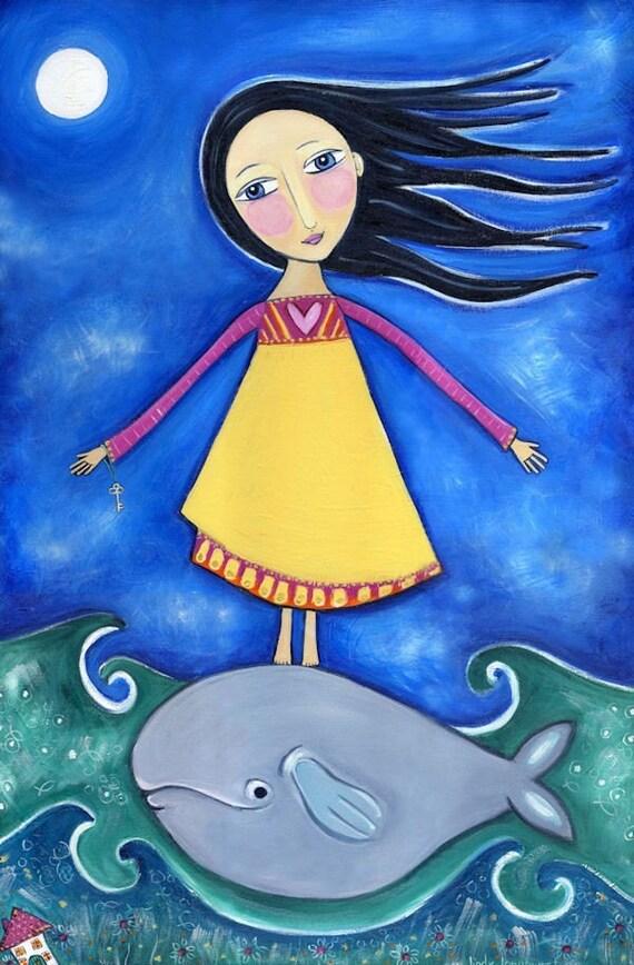 Girl With Whale Art Print Whimsical Folk Art Print Childrens Wall Decor Cute Nursery Art Dream Series Print - 'A Home in the Sea'