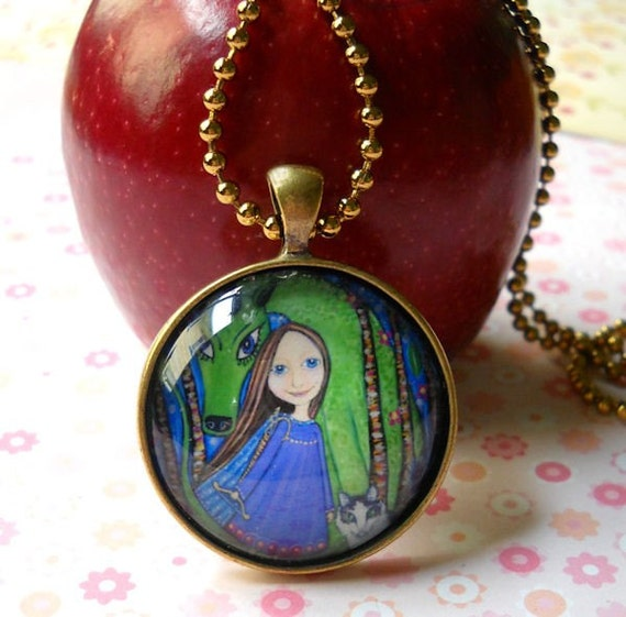 Girl and Dragon art Necklace gift for girls gift for sister Glass Tile Pendant dragon jewelery Bronze Setting Vintage Gold Ball Chain