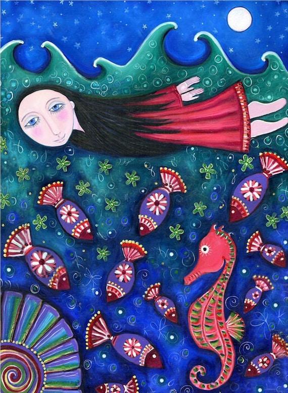 Swimming Girl Fish Seahorse Print painting Whimsical Folk Art Print Dream Childrens Wall Decor Nursery Art 'Drift'