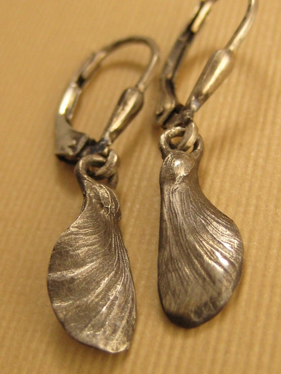 Japanese Maple  seed pod Oxidized sterling silver fairy wing earrings