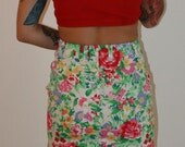 Vintage 80s Bright Floral Combo Bodycon Mini Skirt ON SALE