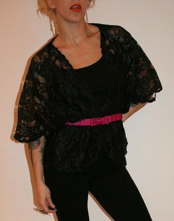 Vintage Black Lace Bed Jacket