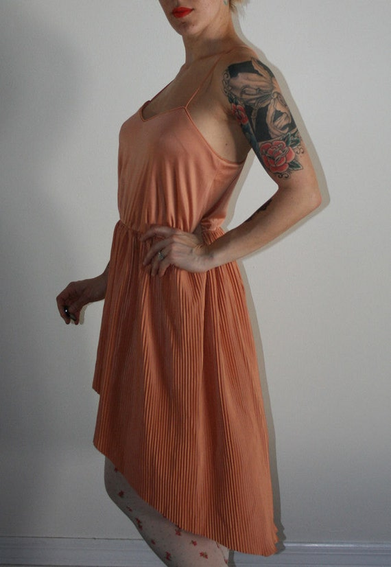 Vintage 70s Blushing Disco Dress with Hi Lo Hem