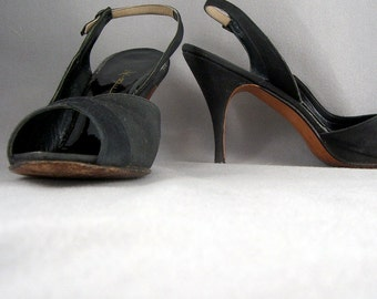 1950s black open toe slingback sandals by Mr. Kimel - US 9N