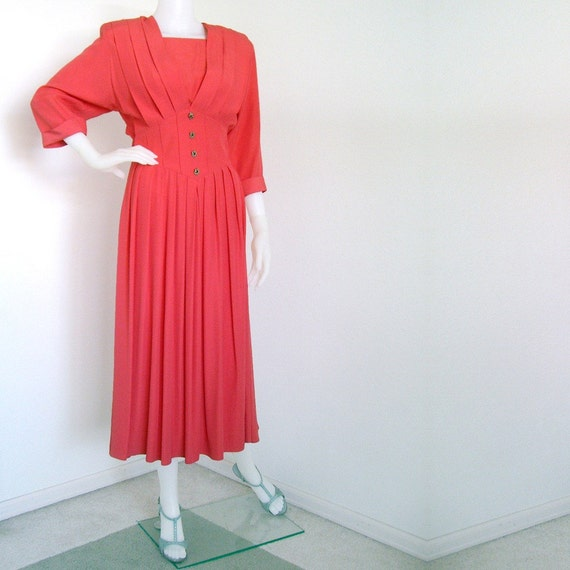 1980s does 1940s coral pink dress with corselet inspired waistline by Nina Piccalino