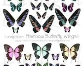 BUTTERFLY WINGS digital collage sheet DOWNLOAD fairy wings, rainbow butterflies, pastel vintage faerie fantasy ephemera altered art supplies
