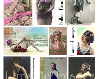BATHING BEAUTIES 4 collage sheet DOWNLOAD vintage photos flappers women images seashore bathing suits ladies altered art ephemera postcards