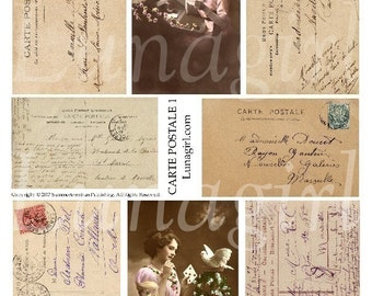 FRENCH WRITING TEXT 1, collage sheet download vintage images postcards Carte Postale handwriting Paris shabby ephemera background letters