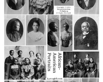 AFRICAN AMERICAN PHOTOS, digital collage sheet, vintage images, photos, women, men, altered art ephemera download printable