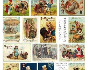 VINTAGE THANKSGIVING digital collage sheet victorian images cards tags ephemera turkeys pilgrims children autumn DOWNLOAD