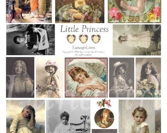LITTLE PRINCESS collage sheet DOWNLOAD girls child vintage images altered art ephemera scrapbooking cards digital