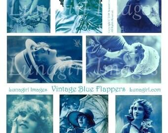 BLUE FLAPPERS collage sheet vintage photos images DOWNLOAD tinted postcards women girls printables for altered art ephemera