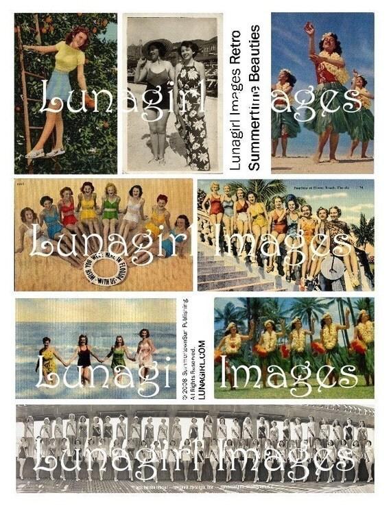 RETRO BEACH BEAUTIES collage sheet digital download vintage images postcards Hawaii Florida summer vacation photos ephemera women girls