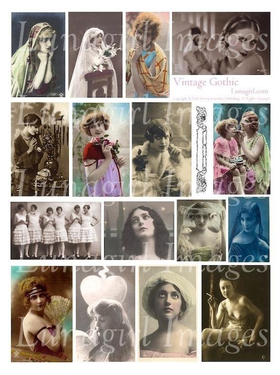 VINTAGE GOTHIC collage sheet DOWNLOAD photos images altered art digital ephemera women flappers dark romantic Victorian Edwardian postcards