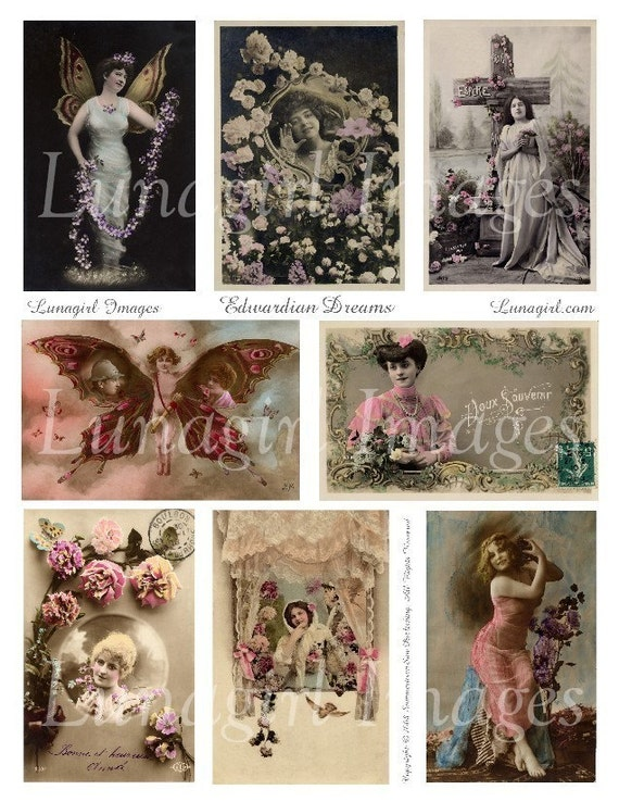 EDWARDIAN DREAMS collage sheet DOWNLOAD vintage images digital ephemera romantic women altered art butterfly winged French postcards