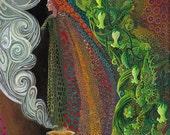 Witch's Brew - Pagan Goddess Art 5x7 Blank Greeting Card