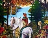 White Horse 5x7 Greeting Card Pagan Mythology Renaissance Medieval Bohemian Goddess Art