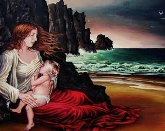 The Lap 8x10 Fine Art Print Breast Feeding Mother Ocean Goddess Art