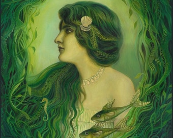The Nereid 16x20 Poster Print Mermaid Mythology Art Nouveau Ocean Goddess Art
