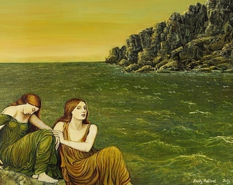 Sea Sisters Ocean Goddess Art ACEO ATC Altar Art Mini Fine Art Print Mythologogy Goddess Art