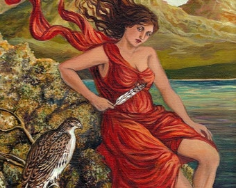The Messenger Mini Print ACEO ATC Altar Art Fine Art Print Hawk Goddess Pagan Mythology Symbolism Goddess Art