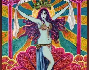 Saraswati Goddess of Music & Art 5x7 Greeting Card Fine Art Print Pagan Mythology Psychedelic Bohemian Gypsy Goddess Art