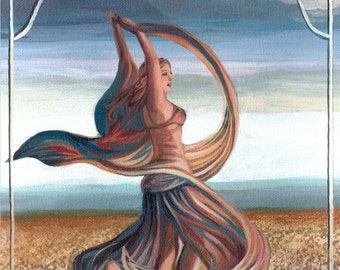 The Dance of the Seven Veils 5x7 Blank Greeting Card Mythology Bohemian Belly Dance Goddess Art