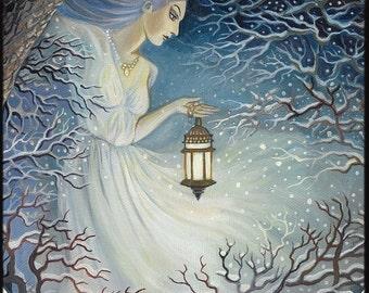 Winter Goddess Solstice Yule Fantasy Art 8x10 Print