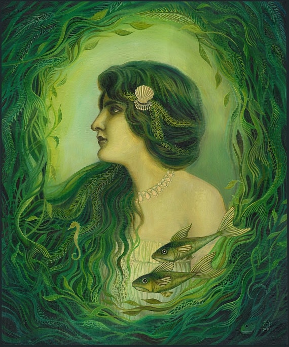 The Nereid - Art Nouveau Fantasy Mermaid Goddess 11x14 Print