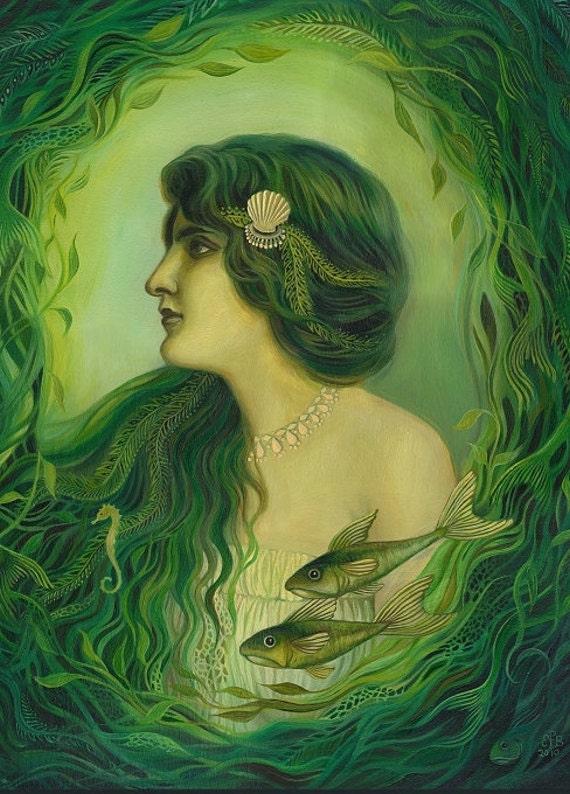 The Nereid - Art Nouveau Mermaid Goddess 5x7 Card